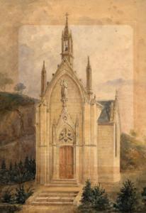 16- Chapelle funéraire en 1850 par Gervais Launay (Albums Launay, bibliothèque de Vendôme)